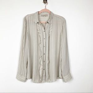LOFT Striped Ruffle Blouse L #0163